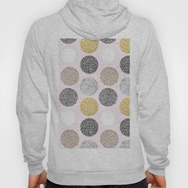 Yellow, White, Gray, Pink and Black Circle Print Hoody