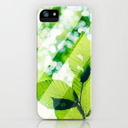 Leaves / Diagonal Stripes iPhone Case