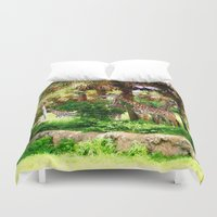 oasis Duvet Covers featuring Tower Oasis by Dragons Laire