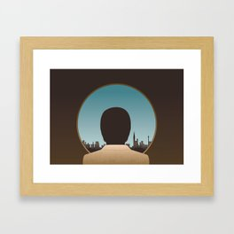 Man Looking Out Over City Framed Art Print
