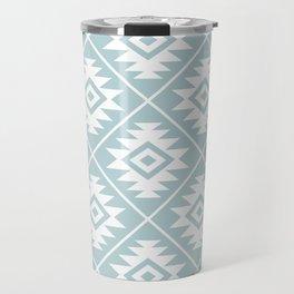 Aztec Symbol Ptn White on Duck Egg Blue Travel Mug