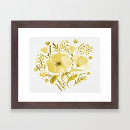 Flower bouquet with poppies - yellow Framed Art Print