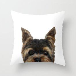 Yorkshire Terrier Mix colorDog illustration original painting print Throw Pillow