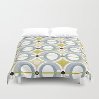 50s Duvet Covers featuring airplane by ottomanbrim