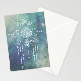 Mandala Flower of Life in Turquoise Stars Stationery Cards