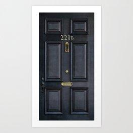 Haunted black door with 221b number Art Print