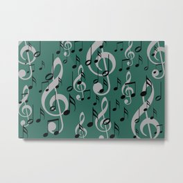Flying Music Notes and clef green Background Metal Print