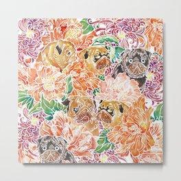 Because Pugs Watercolor Metal Print