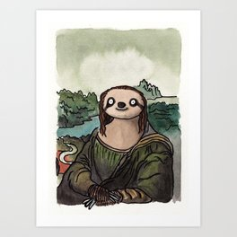 The Mona Sloth  Art Print