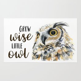 Grow Wise Little Owl Nursery Animals Art Great Horned Owl Rug