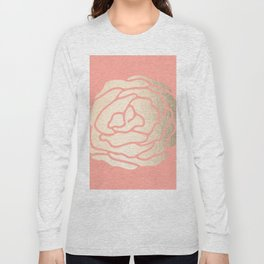 Rose White Gold Sands on Salmon Pink Long Sleeve T-shirt
