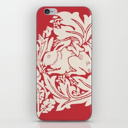 William Morris Style Victorian Christmas Bunnies iPhone Skin