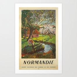 retro Plakat normandie societe nationale des chemins de fer francais campagne Art Print