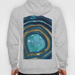 Agate Aqua Blue Gold #1 #abstract #shiny #decor #art #society6 Hoody