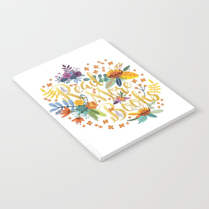 Read More Books - Floral Gold Notebook