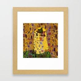 Kiss Klimt Cats Framed Art Print