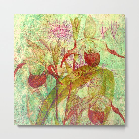 abstract floral with red Metal Print