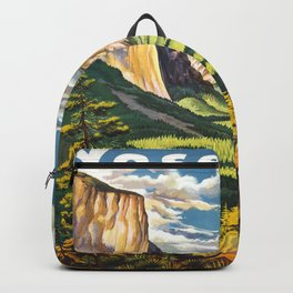 Yosemite National Park Vintage Travel Poster Landscape Illustration Backpack