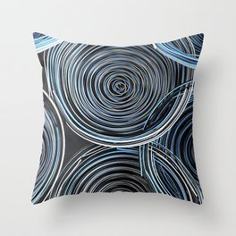 Black, white and blue spiraled coils Throw Pillow