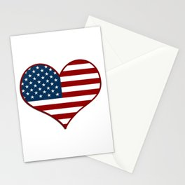 Love USA Heart Flag - Patriot/Independence Day Stationery Cards