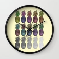 pineapples Wall Clocks featuring Pineapples by Hinterlund