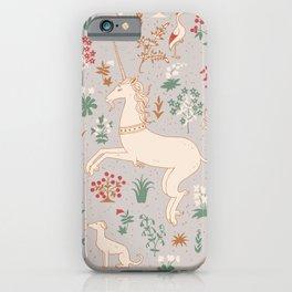 Medieval Unicorns Pale Grey Larger Pattern iPhone Case