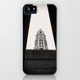 Mather Tower Building Top Chicago Black and White Photo iPhone Case