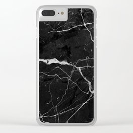Black Suede Marble With White Lightning Veins Clear iPhone Case