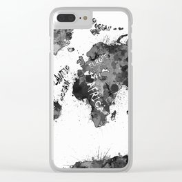 world map color splatter 4 Clear iPhone Case