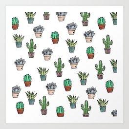Watercolour Cacti & Succulents Art Print