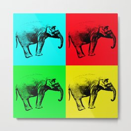 Pop Art Bright Elephants - Help Fund Education for the impoverished in Malawi, Africa.  #MoreThanAid Metal Print
