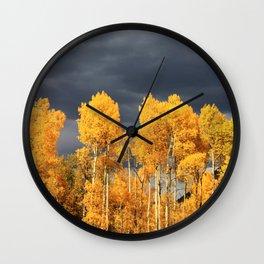 Golden Aspens and an Impending Storm Wall Clock