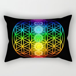 Flower of Life with Chakras Rectangular Pillow