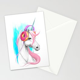 Unicorn in the headphones of donuts Stationery Cards