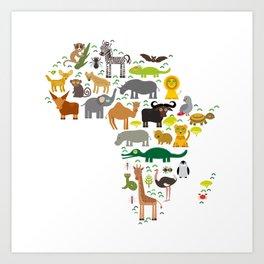 map of Africa: parrot Hyena Rhinoceros Zebra Hippopotamus Crocodile Turtle Elephant Mamba snake Art Print