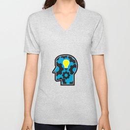 Head with Light Bulb and Cog Retro Unisex V-Neck