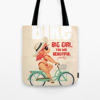 bike Tote Bags featuring BIKE by melivillosa