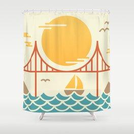 San Francisco Golden Gate Bridge Illustration Shower Curtain