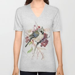 Cute Little Bird and Berries, Tufted Titmouse Unisex V-Neck