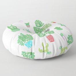tiny happy house plants Floor Pillow