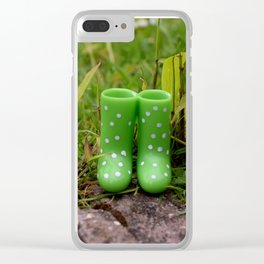 Boots in the grass Clear iPhone Case