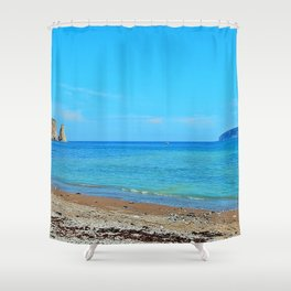 Perce Beach panoramic Shower Curtain