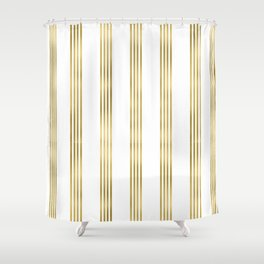 Simply luxury Gold small stripes on clear white - vertical pattern Shower Curtain