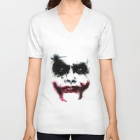 the joker V-neck T-shirts featuring Joker by Lyre Aloise