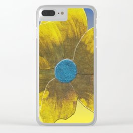 Yellow Flower on Blue Clear iPhone Case