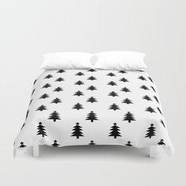 Black and White Christmas Trees Duvet Cover