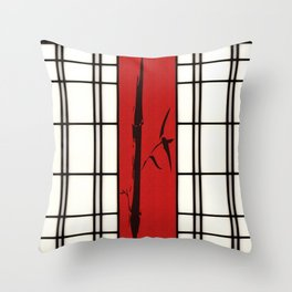 Shoji with bamboo ink painting Throw Pillow