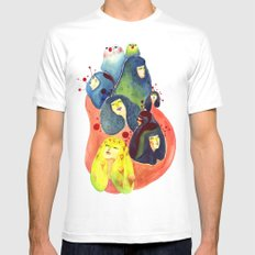 Moss and birds Mens Fitted Tee White MEDIUM