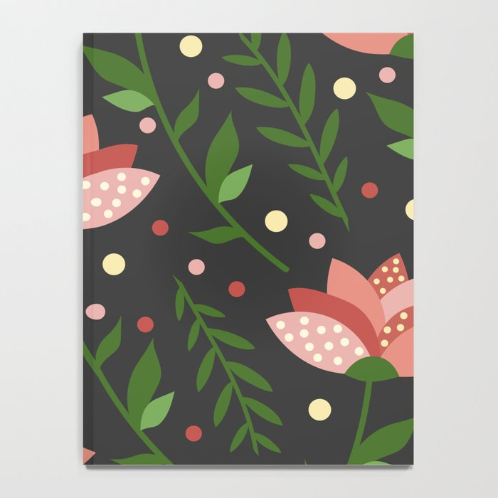 Floral grey pattern. Notebook