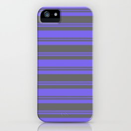 Medium Slate Blue and Dim Gray Colored Pattern of Stripes iPhone Case